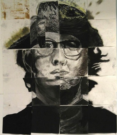 Unit 2 5 Squares Collaborative Charcoal Grid Drawing